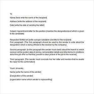 job offer negotiation letter sample appointment letter format image