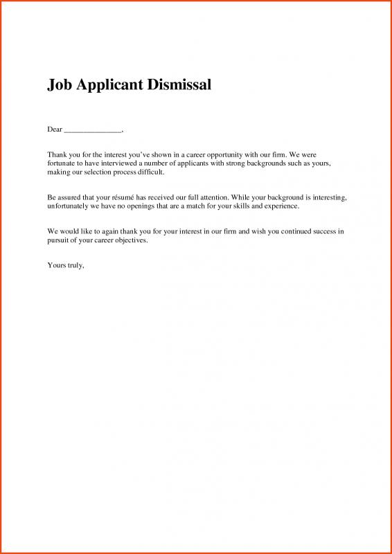 Job Offer Rejection Letter  Template Business