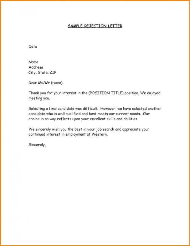 Job offer rejection letter template business job offer rejection letter altavistaventures Images