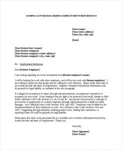 job reference format sample employment reference letter