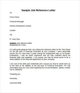 job reference format sample job reference letter
