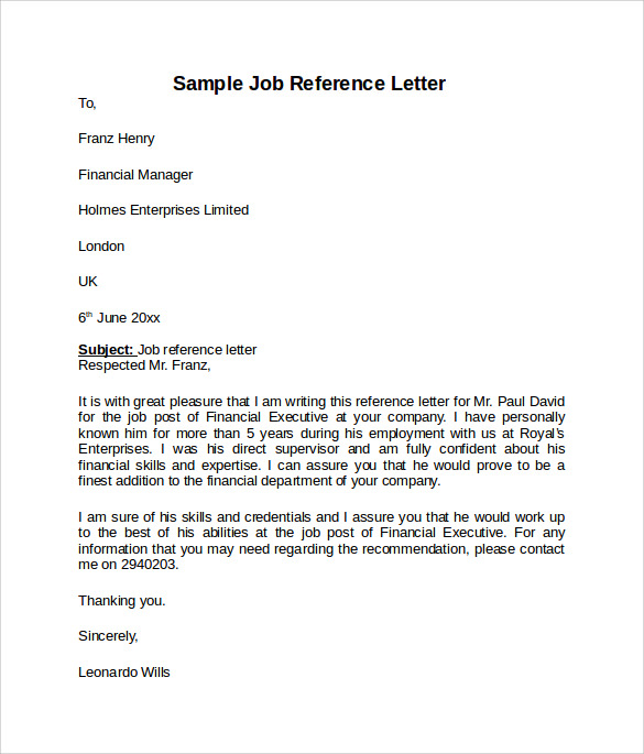job reference format