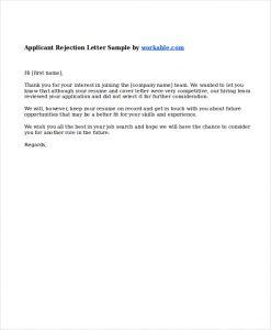 job rejection letter job applicant rejection letter sample