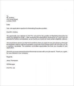 job rejection letter job application rejection letter
