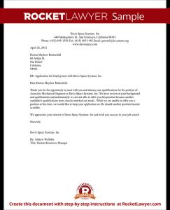 job rejection letter sample employment rejection letter form template