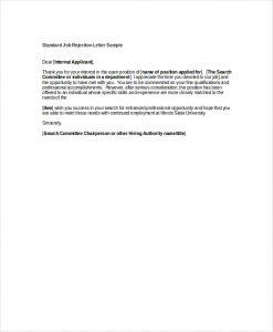 job rejection letter standard job rejection letter sample