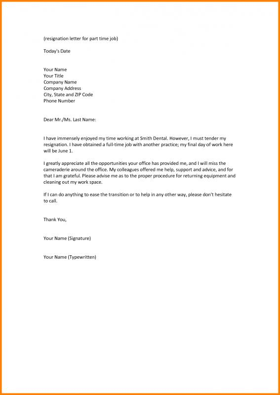 Job Resignation Letter  Template Business