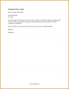 job resignation letter samples