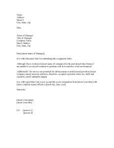 job resignation letter letter of resignation