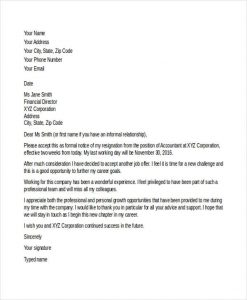 job resignation letter new job resignation letter sample