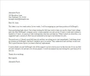 job resignation letter part time job resignation letter template