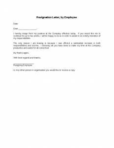 job resignation letter resignation letter by employee