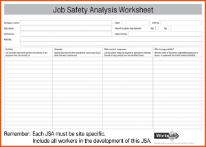 job safety analysis form job hazard analysis form job safety analysis jsa form for pdf