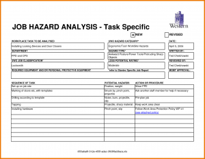 job safety analysis format job safety analysis template