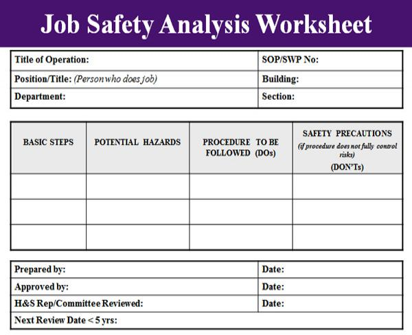 Job Safety Analysis Format  Template Business