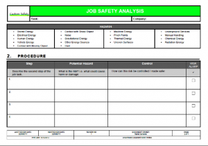 job safety analysis format s p i w