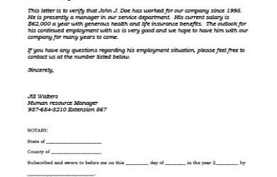 job verification letter sample employer verification letter