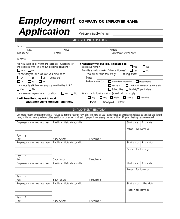 High Quality Jobs Application Sample  Application Sample