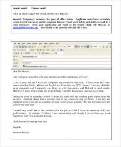 jobs application sample job application email sample