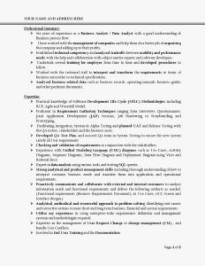 junior business analyst resume sample business analyst resume page