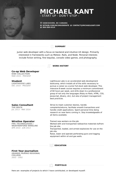 junior web developer resume