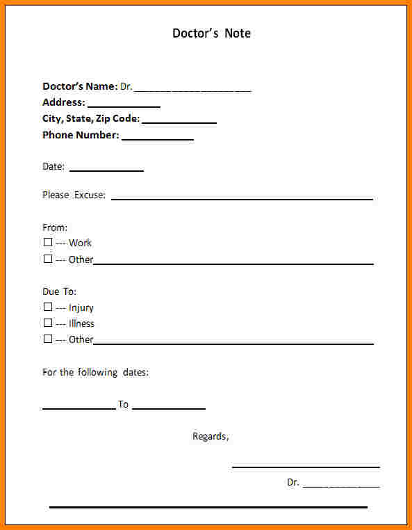 Kaiser Permanente Doctor Note Template Business
