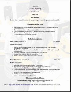 lab technician resume lab technician resume