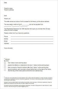land contract template notice of rent increase form template