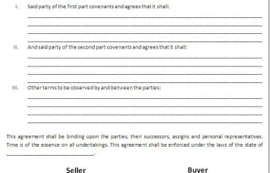 land contract template sale contract