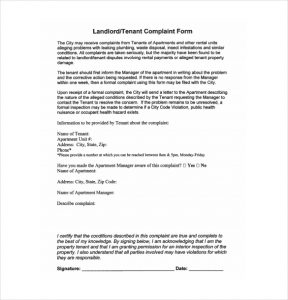 landlord letter to tenant regarding repairs landlord complaint form template