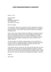 landlord letter to tenant regarding repairs letter requesting repairs in apartment