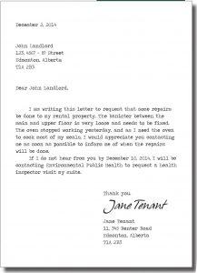 landlord letter to tenant regarding repairs repairs