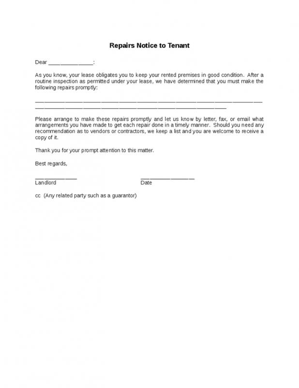 Landlord letter to tenant regarding repairs template for Giving notice to landlord template