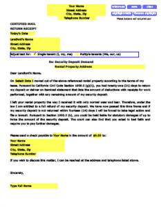 landlord letter to tenant regarding repairs sample security deposit demand letter
