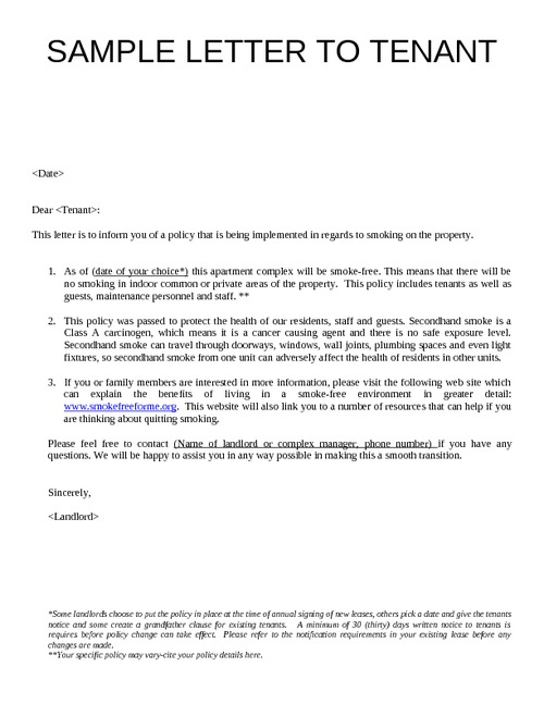 Sample Letter Giving Notice To Tenant Uk