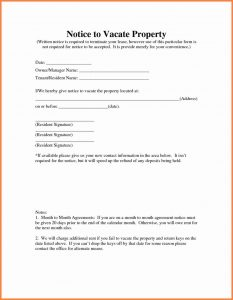 landlord notice to vacate sample letter notice to vacate rental property notice to vacate template template notice to vacate rental property for rental application templates x