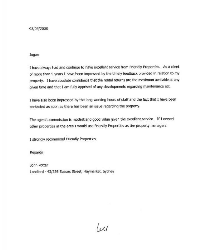 landlord recommendation letter