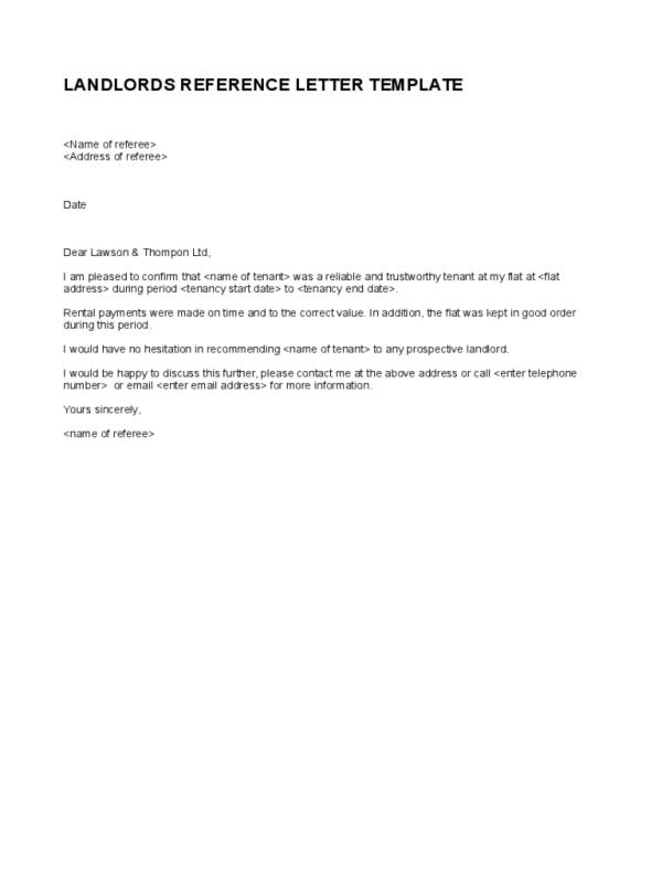 Landlord Reference Letter  Template Business