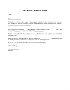 late rent notice late notice landlord to tenant