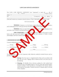 lawn care contract lawn maintenance contract agreement