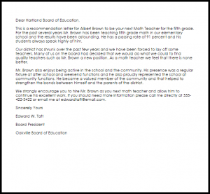 lay off letter math teacher recommendation letter