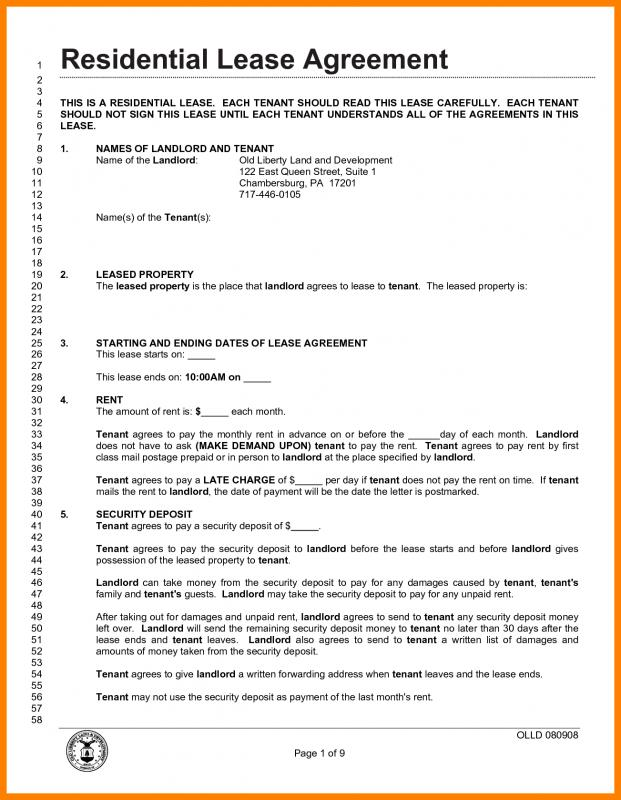 Lease Agreement Pdf  Free Room Rental Lease Agreement Template