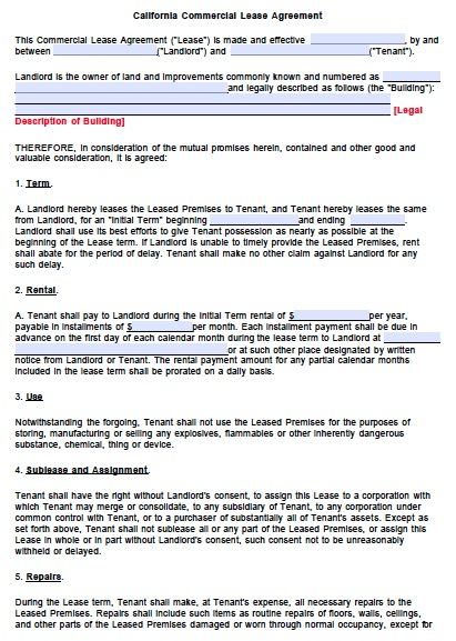 Lease Agreement Template Pdf Template Business
