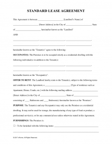lease agreement template pdf standard residential lease agreement form x