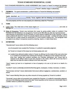 lease agreement template word texas standard residential lease agreement x