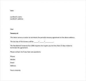lease cancellation letter notice of lease termination letter from landlord to tenant