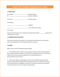 lease cancellation letter rental agreement letter