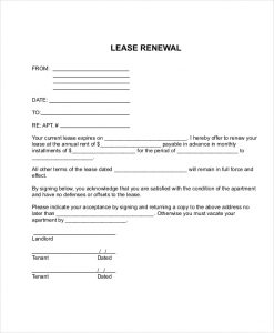 lease renewal agreement apartment lease renewal form
