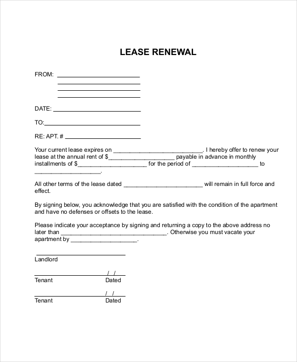 Lease Renewal Agreement Template Business
