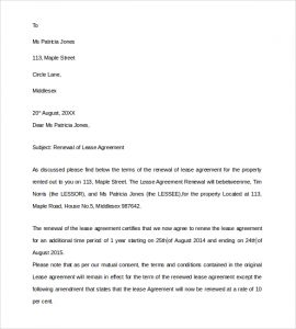 lease renewal agreement lease renewal agreement letter